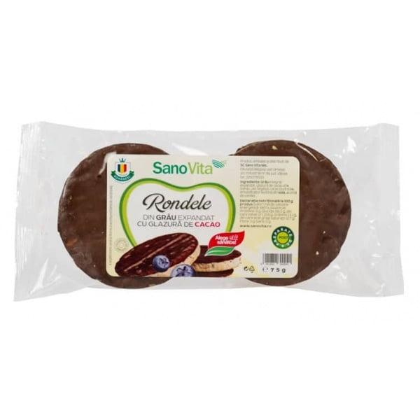 Rondele din Grau cu Glazura de Cacao SanoVita 75g